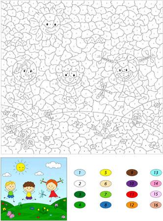 아이들을위한 숫자 교육 게임으로 색상. 두 소년과 소녀는 풀밭에서 연주. 벡터 일러스트 레이 션 일러스트