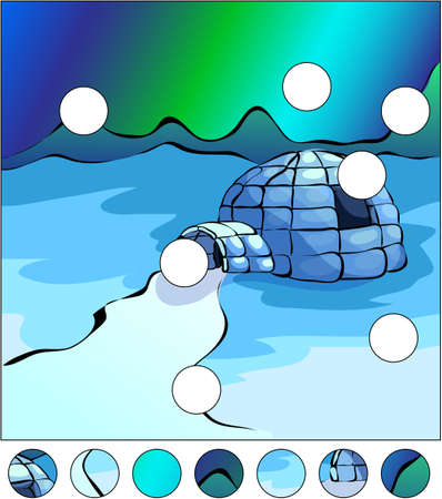 igloo: Igloo and northern lights in the sky. complete the puzzle and find the missing parts of the picture. Vector illustration. Educational game for kids Illustration