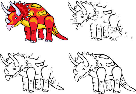 Cartoon Triceratops. Vector illustration. Coloring and dot to dot educational game for kids Çizim