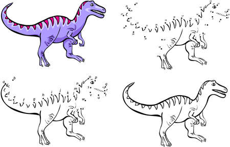 Cartoon tyrannosaur. Vector illustration. Coloring and dot to dot educational game for kids
