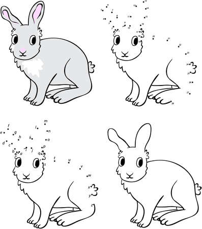 Cartoon hare. Vector illustration. Coloring and dot to dot educational game for kids