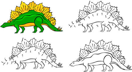 Cartoon Stegosaurus. Vector illustration. Coloring and dot to dot educational game for kids