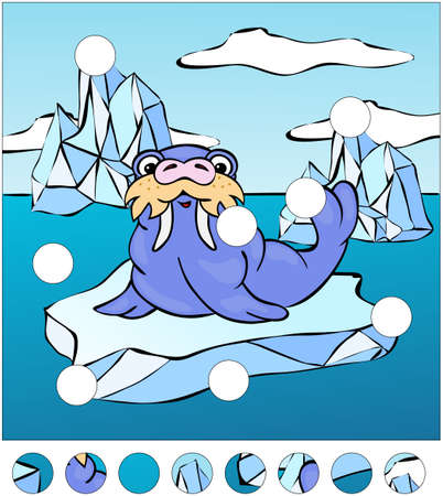 floe: Cartoon walrus on an ice floe. complete the puzzle and find the missing parts of the picture. Vector illustration. Educational game for kids