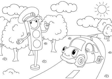 Cartoon car with traffic lights. Vector illustration. Coloring book Çizim
