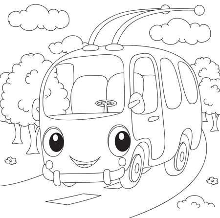Cartoon trolleybus. Vector illustration. Coloring book