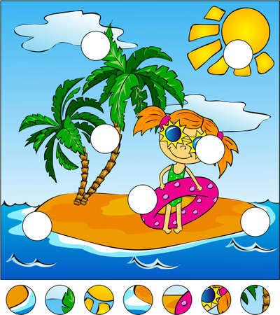 rubber ring: Girl with a pink rubber ring. Island with palm trees. Complete the puzzle and find the missing parts of the picture. Vector illustration. Educational game for kids Illustration