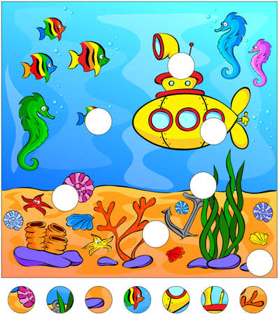 corral: Underwater world and submarine: complete the puzzle and find the missing parts of the picture. Vector illustration. Educational game for kids Illustration
