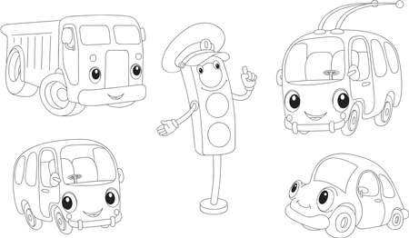 trolleybus: Car, lorry, bus, trolleybus and traffic lights. Coloring book. Vector illustration