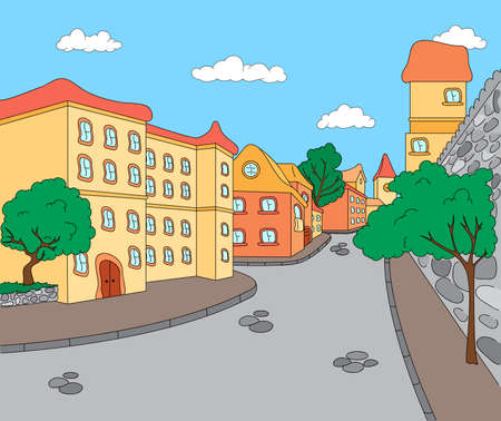The streets of the old town. Vector illustration Иллюстрация
