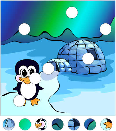 Penguin near the igloo and northern lights in the sky. complete the puzzle and find the missing parts of the picture. Vector illustration. Educational game for kids Ilustração