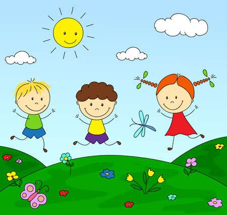 Jongens en een meisje die in de weide spelen. Vector illustratie