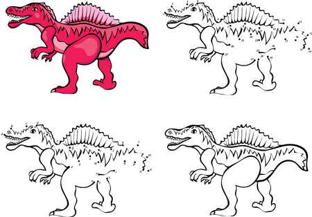 Spinosaurus De Dibujos Animados. Ilustración Del Vector. Colorear Y ...
