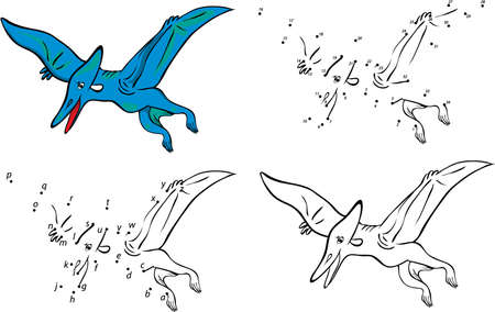 Cartoon pterodactyl. Vector illustration. Coloring and dot to dot educational game for kids