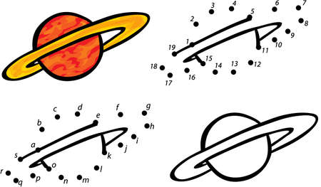 Cartoon planet Jupiter. Vector illustration. Coloring and dot to dot educational game for kids  イラスト・ベクター素材