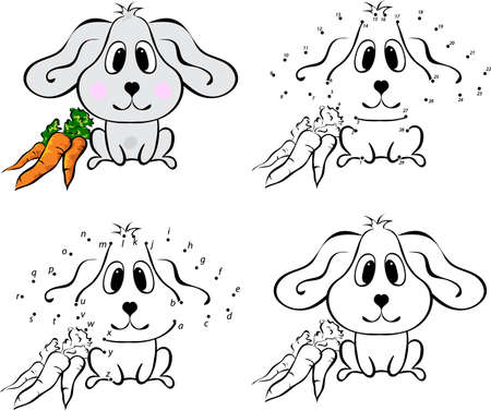 Cartoon hare with carrot. Vector illustration. Coloring and dot to dot educational game for kids