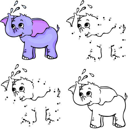 Cartoon elephant. Vector illustration. Coloring and dot to dot educational game for kids Çizim