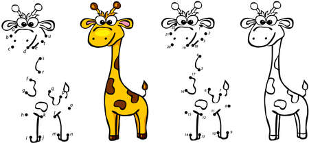 Cartoon giraffe. Vector illustration. Coloring and dot to dot educational game for kids