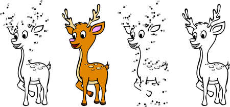 Cartoon deer. Vector illustration. Coloring and dot to dot educational game for kids
