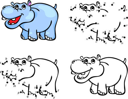 Cartoon hippo. Vector illustration. Coloring and dot to dot educational game for kids