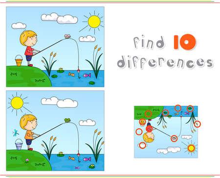 강 은행에 낚시 소년 어. 아이들을위한 교육 게임 : 열 차이점을 찾을 수 있습니다. 벡터 일러스트 레이 션 일러스트
