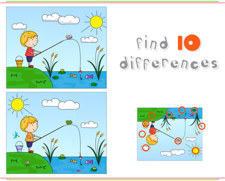 A boy fisherman fishing on the river bank. Educational game for kids: find ten differences. Vector illustration Çizim