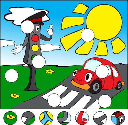 complete crossing: Car and traffic lights on the road on a pedestrian crossing. complete the puzzle and find the missing parts of the picture. Vector illustration. Educational game for kids