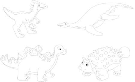 mesozoic: Set of parasaurolophus, ankylosaurus, ichthyosaurus and stegosaurus. Dot to dot educational game for kids. Vector illustration Illustration