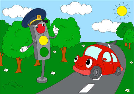 rules of road: Cartoon car with traffic lights. Vector illustration. Coloring book Illustration