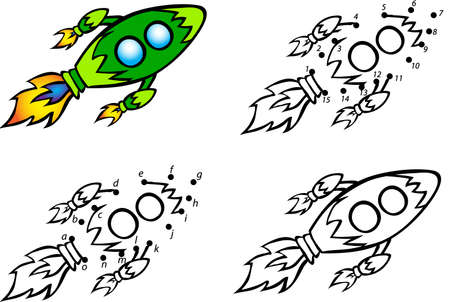 Cartoon rocket. Vector illustration. Coloring and dot to dot educational game for kids