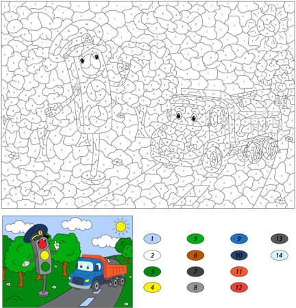Color by number educational game for kids. Cartoon traffic light and lorry. Vector illustration for schoolchild and preschool Vector Illustration
