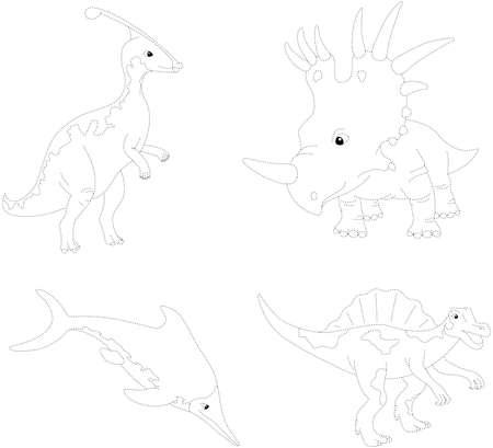 spinosaurus: Set of parasaurolophus, styracosaurus, ichthyosaurus and spinosaurus. Dot to dot educational game for kids. Vector illustration
