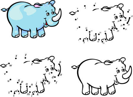 Cartoon rhino. Vector illustration. Coloring and dot to dot educational game for kids