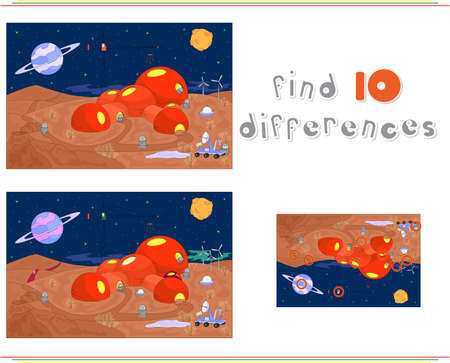 Robots build a futuristic building on the planet. Educational game for kids: find ten differences. Vector illustration