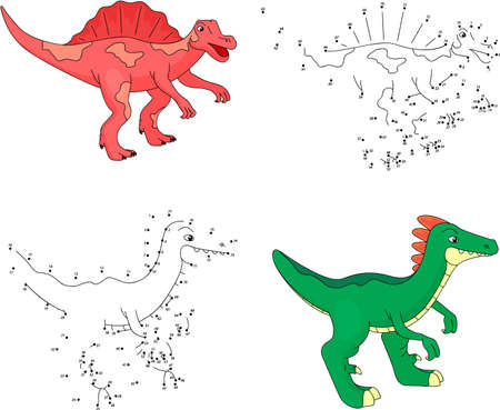 tyrannosaur: Cartoon styracosaurus and tyrannosaur. Dot to dot educational game for kids. Vector illustration