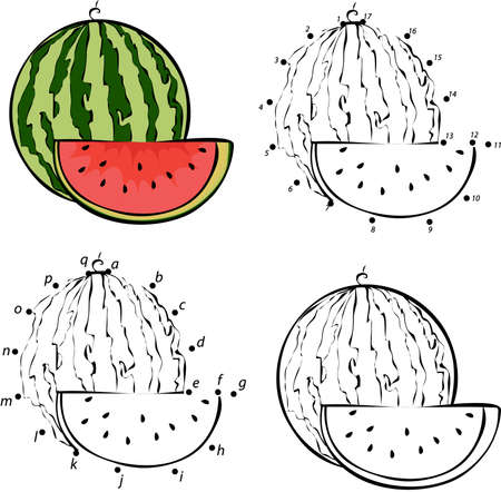 Cartoon watermelon. Vector illustration. Coloring and dot to dot educational game for kids