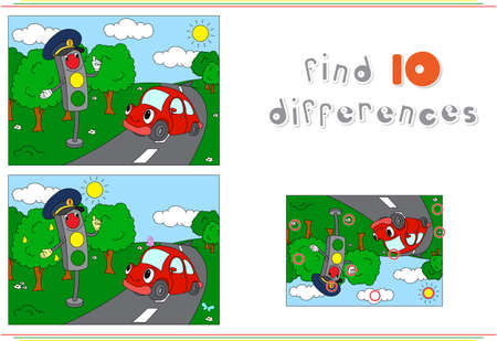 spot the difference: Traffic light and car on the road. Educational game for kids: find ten differences. Vector illustration Illustration