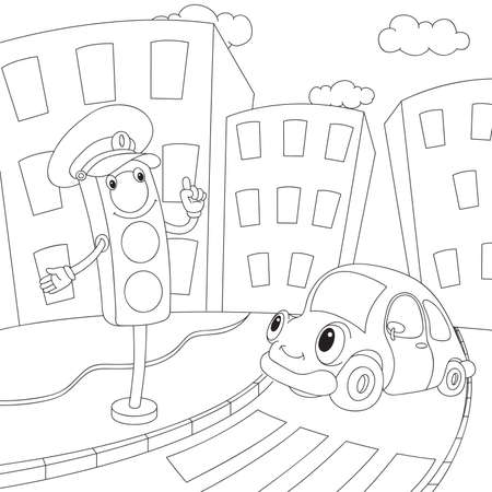 time drive: Cartoon car and traffic lights. Coloring book for kids. Vector illustration
