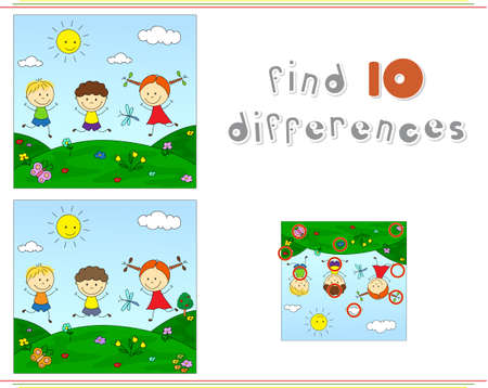 spot the difference: Boys and girl on a flower meadow. Educational game for kids: find ten differences Illustration