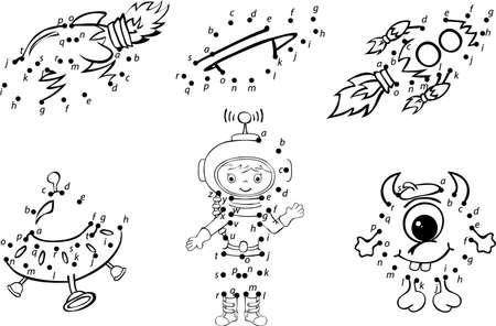 만화 우주 비행사, 외계인, 로켓 및 행성입니다. 벡터 일러스트 레이 션. 어린이를위한 색칠 공부 및 점자 교육 게임 일러스트