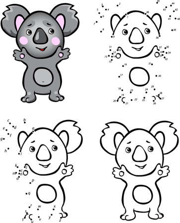 Cartoon koala. Vector illustration. Coloring and dot to dot educational game for kids