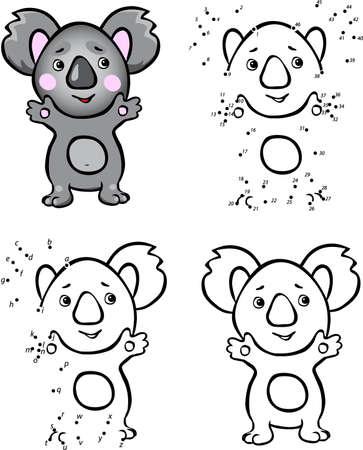 koala Cartoon. Vector illustration. Coloriage et point à point jeu éducatif pour les enfants Vecteurs