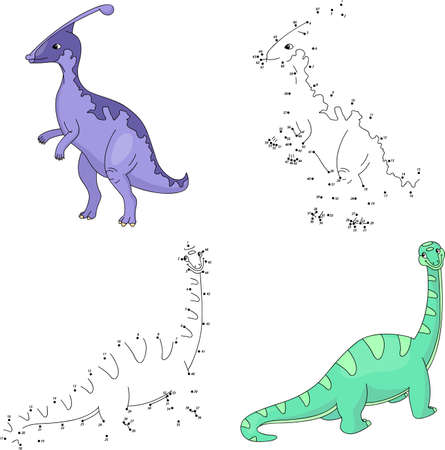 diplodocus: Cartoon parasaurolophus and diplodocus. Dot to dot educational game for kids. Vector illustration Illustration