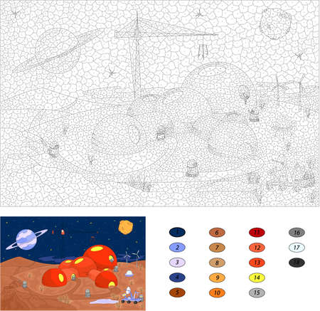 coloration: Color by number educational game for kids. Robots and futuristic buildings on Mars. Vector illustration for schoolchild and preschool