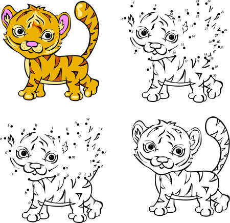 Cartoon tiger. Vector illustration. Coloring and dot to dot educational game for kids