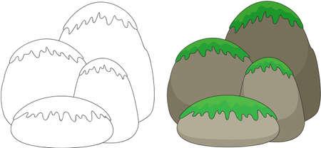 Cartoon Steine ??mit Gras und Moos bedeckt. Malbuch für Kinder. Vektor-Illustration