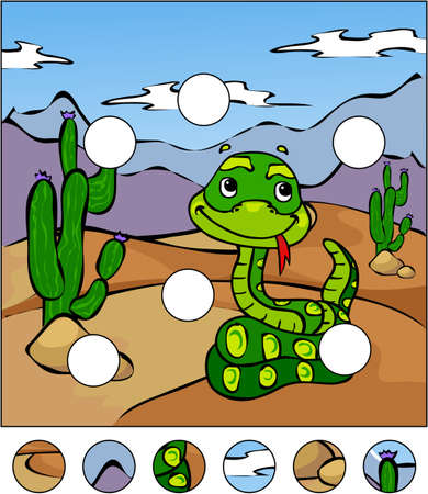 Cartoon snake in the desert. complete the puzzle and find the missing parts of the picture. Vector illustration. Educational game for kids