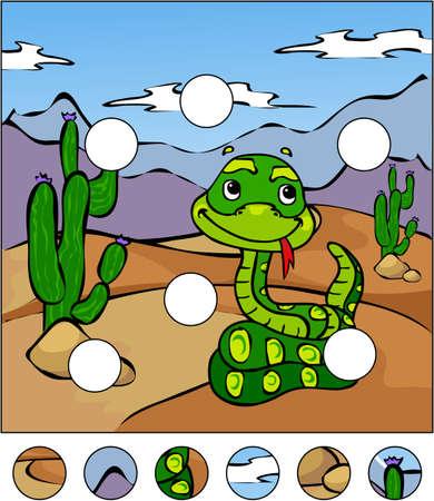 serpiente caricatura: Serpiente de la historieta en el desierto. completar el rompecabezas y encontrar las partes faltantes de la imagen. Ilustración del vector. Juego educativo para los niños Vectores