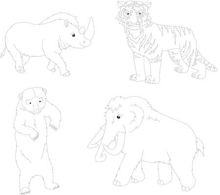 mesozoic: Set of mammoth, prehistoric bear, saber-toothed tiger and rhino. Dot to dot educational game for kids. Vector illustration Illustration
