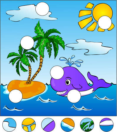 swiming: A big whale swiming in the sea. complete the puzzle and find the missing parts of the picture. Vector illustration. Educational game for kids Illustration