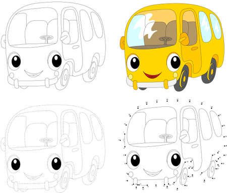 Cartoon yellow bus. Dot to dot educational game for kids. Vector illustration Illustration
